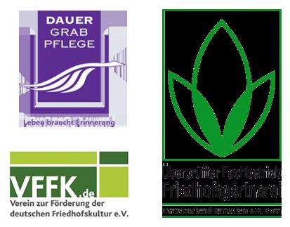 Logo Dauergrabpflege, Logo VFFK, Logo ZV Gartenba